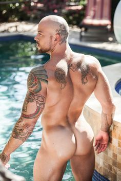 Gay Guys In Tats Steamy Ass Stretching