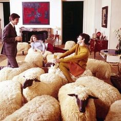 Let there be sheep! A flock of sheep: Hans-Peter Krafft and François-Xavier Lalanne Supreme Art, Francois Xavier, Everything But The House, Hans Peter, Sheep And Lamb, Paris Party, Abstract Animals, Art Of Living, Living Rooms