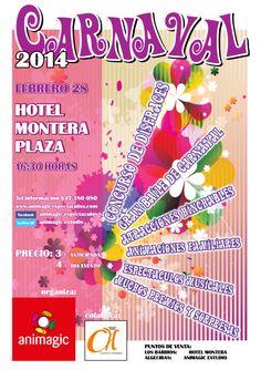 CARNAVAL 2014, por tercer año consecutivo renovamos una fiesta que realizamos totalmente familiar en un lugar privilegiado en el Hotel Montera Plaza de los Barrios.