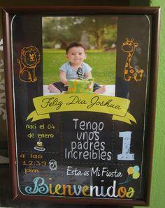 cuadros de cumpleaños - Chalk Birthday Baby 1st Birthday, Animal Birthday, Ideas Para Fiestas, Gaston, Mouse Parties, Baby Shark, Baby Pictures, First Birthdays, Chalkboard