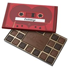 Personalized Love Songs Mix Tape Chocolate Box *Customize with your text or special song. - by BlueRose_Design Chocolate Gifts, Chocolate Box, Valentine Day Gifts, Valentines, Text Design, Kitchen Gifts, Romantic Gifts, Invite Your Friends, Mixtape
