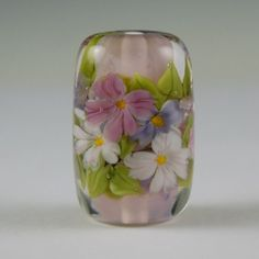 Encased Pastel Floral Glass Focal Bead by NorthFireDesigns on Etsy