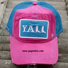 Y'all Baseball Cap in Pink www.gugonline.com $24.95
