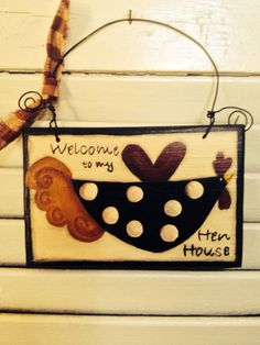 Folk Art Welcome to my Hen House Cupboard by VintageTrimmings