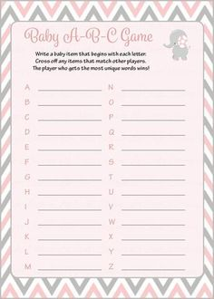 Baby ABC Game - Printable Download - Pink & Gray Baby Shower Game - B3001