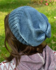 Knit Slouch Beanie Mock Cable Brim Hat Hand Knit in Denim Blue by Gone2Pieces #slouch #slouchy #beanie #denim #blue
