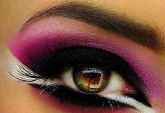 Black, hot pink shadow and white liner.