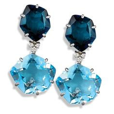 London Blue Topaz Pentagonal Drop Earrings (£1,550) ❤ liked on Polyvore featuring jewelry, earrings, accessories, 18 karat gold jewelry, 18 karat gold earrings, london blue topaz drop earrings, 18k earrings and london blue topaz jewelry