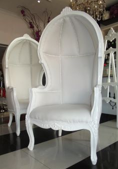 French White Canopy Chair Available For Hire At WED On Beaufort