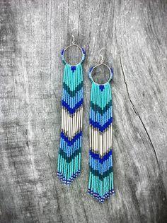 Long Beaded Fringe Earrings, Beaded Shoulder Dusters, Long Seed Bead Earrings, Native American Inspired, Tribal Earrings, Turquoise, Teal. $85.00, via Etsy.
