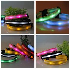 Safety LED Collar Pets Products Dogs  Lighted up Nylon Stripe Pattern LED Collar 60*2.5CM Free Shipping