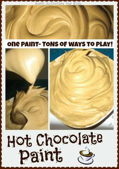Hot chocolate paint recipe - so fun for the Winter! To make hot chocolate paint you will need: Shaving cream, One hot chocolate packet, cocoa powder, or chocolate extract.