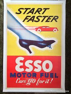 c1950 ESSO Motor Fuel START FASTER Cars Original Vintage Auto Advertising Poster