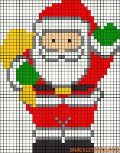 Risultati immagini per pixel art template christmas Santa Cross Stitch, Cross Stitch Charts, Cross Stitch Patterns, Hama Beads Patterns, Beading Patterns, Embroidery Patterns, Loom Patterns, Christmas Perler Beads, Christmas Cross