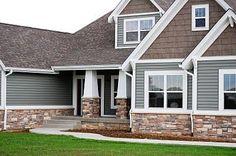 Ideas For Exterior House Siding Colors Vinyls Porches House Siding, House Paint Exterior, Exterior House Colors, Exterior Design, Exterior Paint Colors For House With Stone, Modern Exterior, Stone On House Exterior, Craftsman Exterior Colors, Stone Veneer Exterior