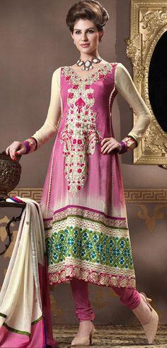 $92.59 Pink Full Sleeve Faux Georgette Long Anarkali Salwar Kameez 20171