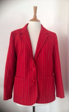 Vintage 70s 80s Red Stripe Wool Blazer Preppy Small S by Cabinet49, $42.00