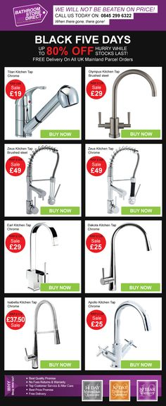 Black Friday? Bathroom Store Direct extends that to a Black Five Days Sale! Up to an INCREDIBLE 80% Off While Stock Lasts https://www.bathroomstore-direct.co.uk/www-bathroomstore-direct-co-uk-wholesale-offers/