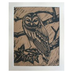 Lino Print Owl on Brown Paper...£9.99