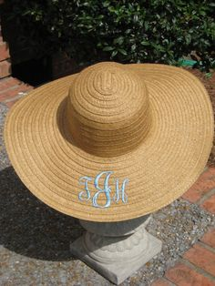 monogram straw hat