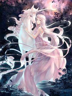 maybe fairy and unicorn? love the last unicorn Unicorn And Fairies, Unicorn Art, Unicorn Images, Unicorn Fantasy, Fantasy Magic, Fantasy World, Fantasy Kunst, Fantasy Art, Illustration Fantasy