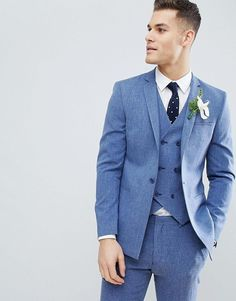 Wedding Suits Groomsmen Suits - Shop ASOS DESIGN wedding skinny suit jacket in provence blue cross hatch with printed lining at ASOS. Tuxedo Wedding, Wedding Men, Wedding Suits, Wedding Attire, Wedding Jacket, Costume Garçon, Costume Slim, Blue Groomsmen Suits, Blue Tuxedos