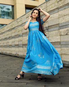AQUA BLUE HANDBLOCK DRESS – Aachho Eid Outfits, Indian Designer Suits, Blue Dresses, Formal Dresses, Blue Maxi, Western Wear, Size Model, Aqua Blue, Flare Dress