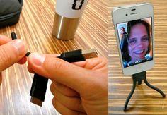 un trípode para tu ipod y un conversor a usb, en un solo aparato por 18€  http://www.petapixel.com/2012/06/01/twig-is-a-usb-cable-that-doubles-as-a-tabletop-tripod/