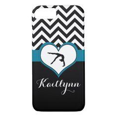 Gymnastics Chevron Heart with Monogram in Black iPhone 7 Case