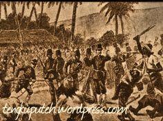 Pasukan Aceh memberikan perlawanan yang gigih dengan membendung arus penyebrangan tentara Belanda. Tentara Belanda terus maju menerobos pertahanan Aceh dengan alatnya yang lengkap dan serba modern. Dalam terobosan-terobosan ini terjadilah perang tanding, seorang melawan seorang dimana prajurit Aceh maju dengan kelewang yang sukar bagi Belanda menghadapinya dalam jarak dekat. Namun dengan keunggulan persenjataan dan keahlian pasukan Belanda terus maju.