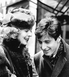 "Diane Keaton and Al Pacino on the set of ""The Godfather"" (1972)."