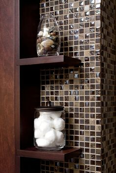Small Earthy Bath Remodel - love the tile, the wood and the nifty little shelves! Mosaic Bathroom, Mosaic Tiles, Small Bathroom, Bathroom Shelves, Tiling, Bathroom Ideas, Living At Home, Diy Home Improvement, Bath Remodel