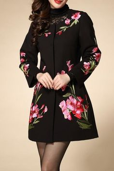 Embroidered Buttoned Coat with Pockets