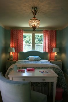 Turquoise Bedroom with gorgeous bedding and a pretty light fixture that looks similar to a pineapple. :0)  (Design by Janell Beals of Isabella and Max Rooms)