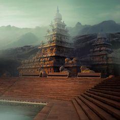 Gopura Vasal - Artwork done by Dioeye. Used Tools: Adobe Photoshop CC. New Background Images, City Background, Editing Background, Indian Temple Architecture, Asian Architecture, Fantasy Art Landscapes, Fantasy Landscape, The Mahabharata, Amazing India
