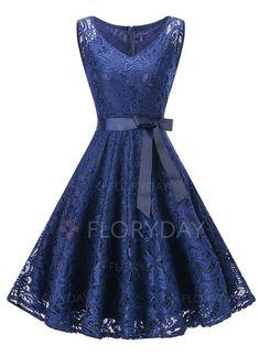 Dress - $87.98 - Solid Ruffles Skater V-Neckline A-line Dress (1955244887)