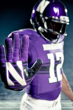 Northwestern University Wildcats Football Uniform 2012 (home) by Under Armour (custom glove) College Football Uniforms, College Football Season, Sports Uniforms, Sports Teams, Football Usa, Football Jerseys, American Football, Football Fans, Collage Football