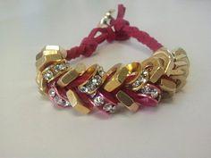 Fuschia Brass Hex Nut Bracelet w/Stone Beads by LabelMeChic on Etsy, $25.00