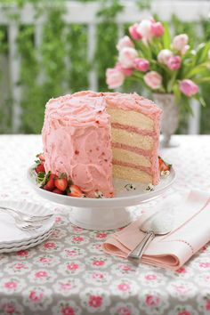Strawberry Mousse Cake...   Pretty in pink, this mousse cake packs in layers of love filled with the sweetest strawberry flavor.