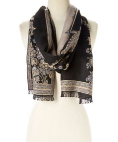 Another great find on #zulily! White & Black Geometric Cashmere Scarf #zulilyfinds