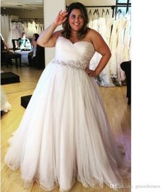 Plus Size Beach Wedding Dresses With Crystal Belt Pleated Sweetheart Backless A…
