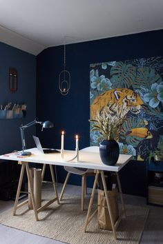 ixxi blue wall - Google Zoeken Indigo Walls, Blue Walls, Tile Decals, Wall Tiles, Room Inspiration, Interior Inspiration, Loft Plan, Blue Office, Blue Rooms