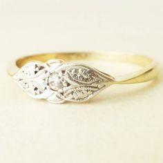 Art Deco Diamond Platinum and 9k Gold Engagement by luxedeluxe, $310.00