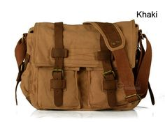 Men's Vintage Canvas Leather Satchel School Military Shoulder Bag Messenger Bag | eBay