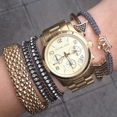 Wanna Arm Party Candy Swag Bracelets Stack Jewelry Mixed Metal Elle Yeah Elodie Russo Blog Post Fashion Beauty Lifestyle H Michael Kors Stella and Dot UK.JPG