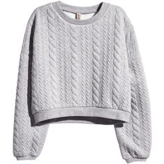 H&M Quilted sweatshirt ($31) ❤ liked on Polyvore featuring tops, hoodies, sweatshirts, sweaters, shirts, grey, long sleeve shirts, grey sweatshirt, cuff shirts and gray sweatshirt