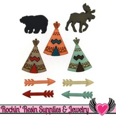 Jesse James Buttons 9 pc Little Man Cave Teepee, Arrows, Moose & Bear Buttons