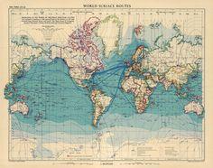 Vintage Map Arctic Ocean Alaska Canada Germany Greenland ORIGINAL