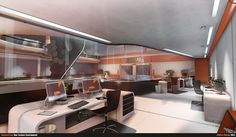 Future Architecture, Futuristic Interior, Dayward Inc. Office by ~beere on deviantART Spaceship Interior, Futuristic Interior, Futuristic Architecture, Architecture Design, Sci Fi Environment, Environment Design, Science Fiction, Sci Fi Art, Indoor