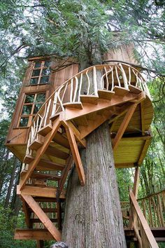 Cool tree house with amazing staircase.